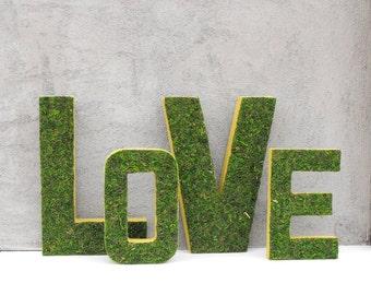 Moss Letters LOVE-Moss Letters-Woodland Wedding Decor-Moss Wedding Sign-Woodland Baby Shower Decor-Valentines Decor-Wedding Signage