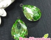 RS- CH-03010- Rhinestone Teardrop Charm (13mmx18mm) in antique brass setting,Peridot, 4 pcs