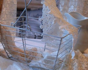 Shabby Chic Wire Egg Basket Towel Basket  Beaconhillcollect  Collectibles  We Ship Internationally
