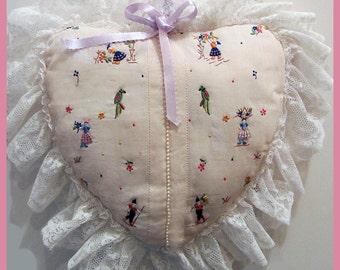 Antique VALENTINE PILLOW - wedding ring pillow