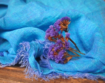 100% Blue Linen Scarf, Eco Linen, Many Color, Eco Scarf, Women, Men Accessories