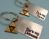 Legend of Zelda Inspired - He's My Hero or She's My Princess - CHOOSE ONE Hand Stamped Keychain in Aluminum or Copper w/ Triforce Charm