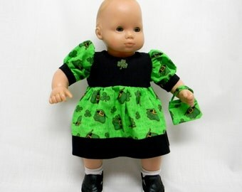 St Patricks Shamrock Print Dress For 16 Inch Doll Like Bitty Baby