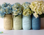 Home Decor Vase Painted Mason Jars Centerpiece Kitchen