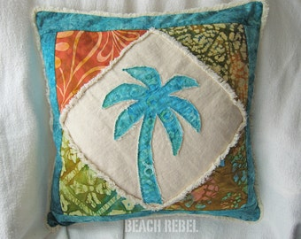 Patchwork palm tree boho pillow cover, with turquoise, teal, gold, green, and orange batik and natural denim 18""