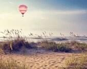 Nursey Beach Print Pink Hot Air Balloon Seascape Nautical Wall Art Decor Peaceful Autumn Coastal Photography