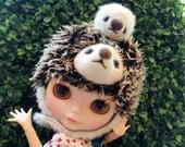 Kiddy Bear  Mohair hedgehog  Hat  Helmet  for Blythe doll