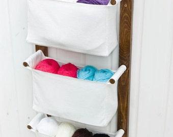 Diaper Caddy Wall Hanging Organizer - Nursery Storage Basket - Craft Room Storage Fabric Bin - Change Table Custom Organizer - Fabric pocket