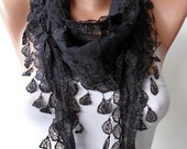 CHRISTMAS, HOLIDAY GIFT, Gifts For Her, Gifts For Women Black Cotton Scarf with Lace Edge - Trending Item - Gift Ideas - For Her- Women
