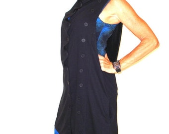 25% OFF CLEARANCE SALE Cascade Button Detailed Long Vest in Black