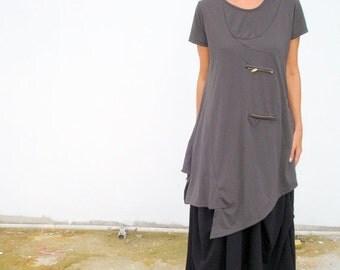 CLEARANCE SALE Zip Detailed Dark Grey Tunic Top