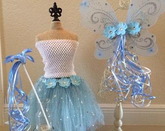 Blue Fairy Costume, Fairy Costume, Blue Tutu, Blue Princess Dress, Cinderella Dress, Princess Dress, Blue Fairy Wings, Tinkerbell Favors