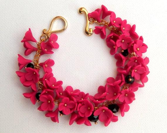Bridal Flower Bracelet : Hot pink flower bracelet bridal jewelry wedding