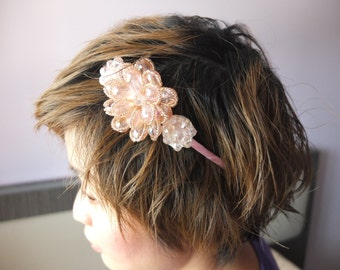 Pinky Inspired Headband / Bridal Headband / Great Gatsby Headband / Pink Glass beaded flowers Headband