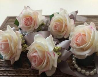 Elegant Blush Pink Rose corsage