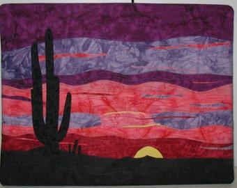 "Arizona Sunset  -  Quilted Fiber Art on Canvas - 11"" x 14"""
