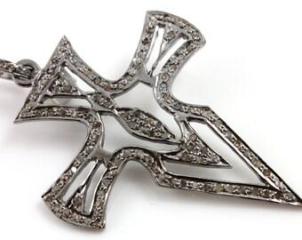 Pave Diamond Pendant, Pave Cross Pendant, Diamond Cross Charm, Pave Religious, Diamond Cross, Pave connector, Oxidized Silver.  (DCH/CR159)