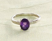 Amethyst Ring or Engagement Ring Handmade Jewelry Platinum Over Sterling Silver February Birthstone Size 9