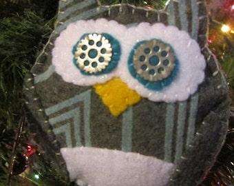 Felt owl ornament-owl bowl filler-steam punk owl-Blue and grey Chevron owl ornament-stocking stuffers-christmas gift-ready to ship