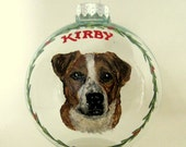 Dog Portrait, Personalized Pet, Christmas Ornament, Pet Loss Memorial, Dog Art, Handpainted Glass Ball, Holiday Decoration