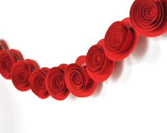 Red Garland Red paper flowers garland red rose garland Christmas Garland