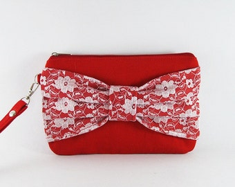 SUPER SALE - Red Lace Bow Clutch - Bridal Clutches, Bridesmaid Wristlet, Wedding Gift, Cosmetic Bag, Zipper Pouch - Made To Order