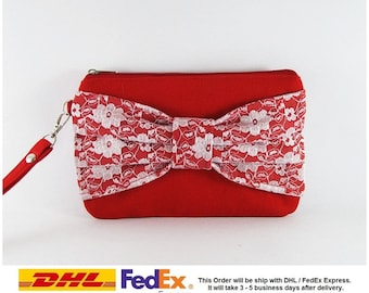 SUPER SALE - Set of 5 Red Lace Bow Clutches - Bridal Clutches, Bridesmaid Clutches, Bridesmaid Wristlet, Wedding Gift - Made To Order
