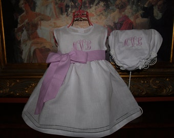 Monogrammed Toddler Girl White Linen Dress with Hemstitching With Slip and Monogrammed Diaper Cover