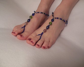 Blue-Green with Pink Barefoot Sandals