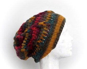 Autumn Color Slouchy Beanie-Crochet Hat -Womens Hat -Autumn Accessories-Hand Made Hat