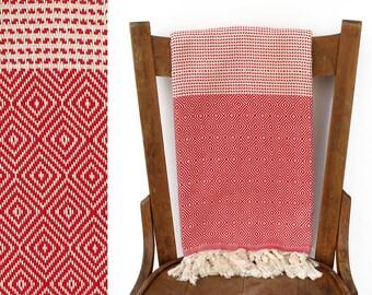 Cotton Throw Blanket Turkish Towel Turkey Handwoven Turkish Bath Towel Beach Wrap Picnic Blanket Shawl Cream Red BLISS PESHTEMAL
