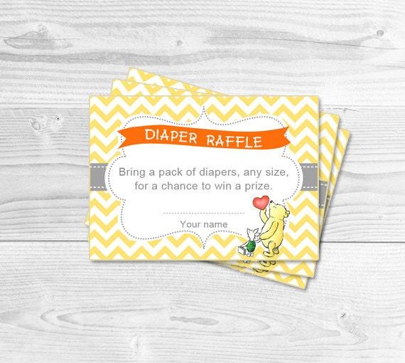 Diaper Raffle Tickets Winnie the Pooh Baby by DianaMariaStudio
