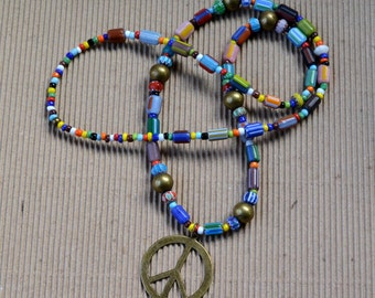 Bohemian Peace Sign Multicolor Long Necklace Hippie Boho Chevron Antique Bronze Large Beaded Multi Color Beads Fashion Jewelry Free Shipping