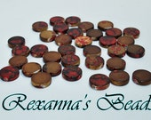 Red & Gold Flat Round Beads- Set of 68
