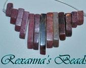 Rhodonite Graduated Mini Fan- 13 pieces