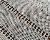 Handwoven linen table runner white