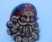 Vintage FreeStanding Cast Metal Santa