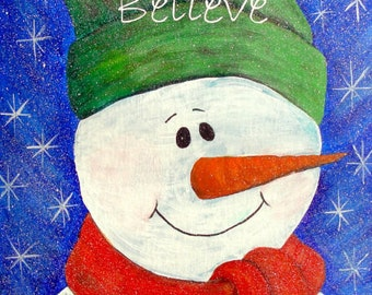 "Snowman Christmas Art - ""Believe"""
