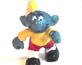 Vintage Smurf, Vintage Peyo Smurf, Vintage Footballer Smurf, Vintage Soccer Smurf - 1980's - rare