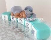Elephant baby blocks cake topper