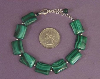 Bracelet Malachite 16mm Pillow 925 Silver Clasp BSMA1575BSMA1575