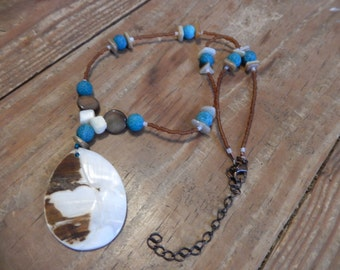 Beaded Necklace with Shell Pendant - Blue/Brown/White - Earthy, Beach, Hippie, Bohemian Jewelry
