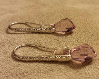 Earrings Pink Swarovski Prism Crystals Pink Rose Sterling Silver Hardware