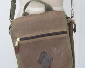 Vintage LL Bean Waxed Oilcloth Messenger Travel Bag with Leather Trim
