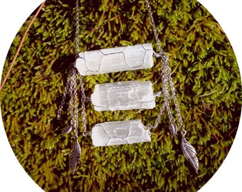 Selenite Wrapped Crystal Necklace with Feathers - Wander in the Light