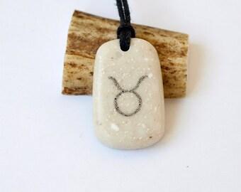 Taurus necklace, Taurus  pendant, Taurus jewelry, Zodiac charm, Zodiac necklace, Zodiac jewelry, Zodiac pendant, Scrimshaw, Stone necklace