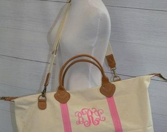 Preppy Monogrammed Weekender Bag