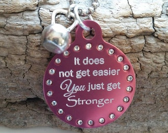 It does not get easier~You get Stronger~ Inspirational Necklace~ Girlfriend Necklace~ Kettle Bell jewelry~ weightlifting~ Swarovski Crystals