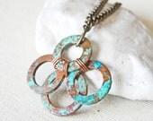 Copper Patina Pendant Necklace, Copper Washer Necklace, Rustic Copper Necklace Jewelry Industrial Necklace Rustic Necklace Verdigris