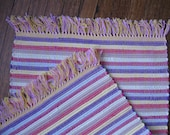 Clearance Rag Rug in Playful Bands of Yellow, Magenta, Purple, and Beige
